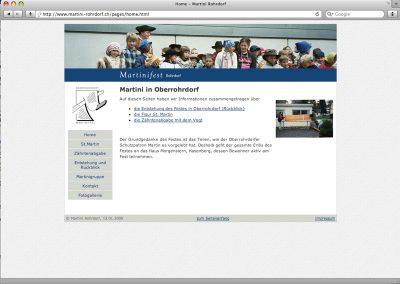 Website für den Martini-Anlass in Oberrohrdorf